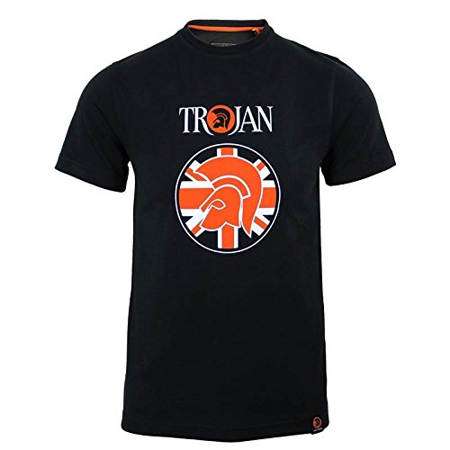trojan-records-t-shirt-da-uomo-nero-union-trojan-helmet-logo-girocollo-top-trojan-small