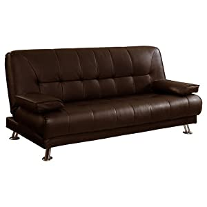 Venice 3 seater sofa bed faux leather w chrome legs for Sofa bed amazon