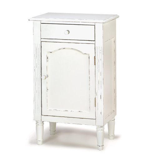 Antiqued Distress White Finish Cabinet Table Nightstand front-972328