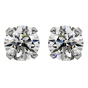 14k White Gold Round Solitaire Diamond Stud Earrings (1/4 cttw, G-H, I1)