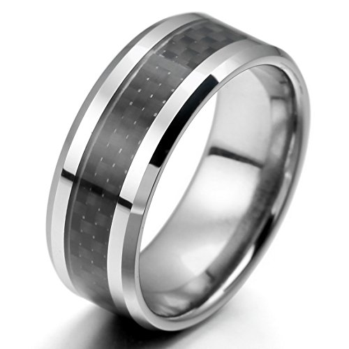 Men'S Tungsten Carbon Fiber Band Ring Silver Black Comfort Fit Polished Size14