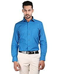 Oxemberg Men's Solid Formal 100% Cotton Blue Shirt