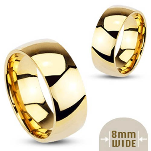 316L Stainless Steel Gold IP 8mm Wide Glossy Mirror Polished Traditional Wedding Band Ring - Size 9