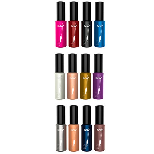 Set di 12 Smalti per le Unghie Assortiti Mix di Colori Professionali Alla Moda di Alta Qualita in Bottigliette da 10ml di Kurtzy TM
