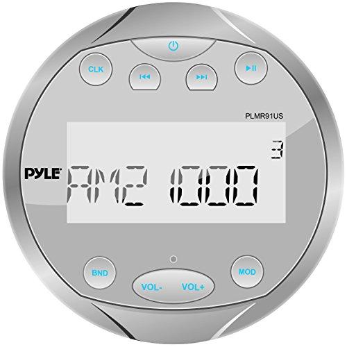 Pyle PLMR91US Hydra Waterproof Bluetooth Marine Digital Receiver Stereo Radio USB/MP3/AM/FM/AUX Input, Round/Circle