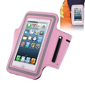 Brassard sport tour de bras rose pour iphone 5 et iphone 5S idéal pour les sportifs, course à pied ou salle de sport avec trous pour écouteurs, bande réflechissante et pochette pour clé.