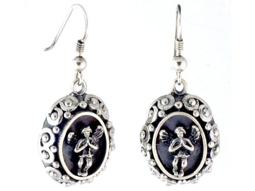 Hand Made Oval Angel and Scroll Earring