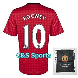Manchester United MU #10 Rooney Soccer Jersey Uniform Set with Shorts & Bag for: Kids Youth age 5-7