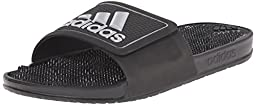 adidas Performance Men\'s Adissage 2.0 Logo Sandal,Black/Metallic Silver/Black,10 M US