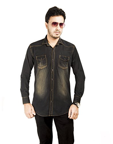 Mitra Creations Classic Wash Denim Mix (Surprisingly Smooth-Light weight) Casual Shirt For Men-DENCO360 CCLEAST-CYBLK-M