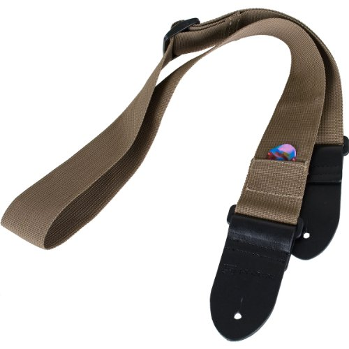 Protec Guitar Strap with Leather Ends and Pick Pocket, Tan