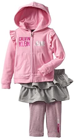 Calvin Klein Little Girls' Hoody With Skeggings, Pink, 2T