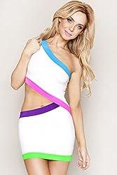 White Waist Cut Neon Club Dress