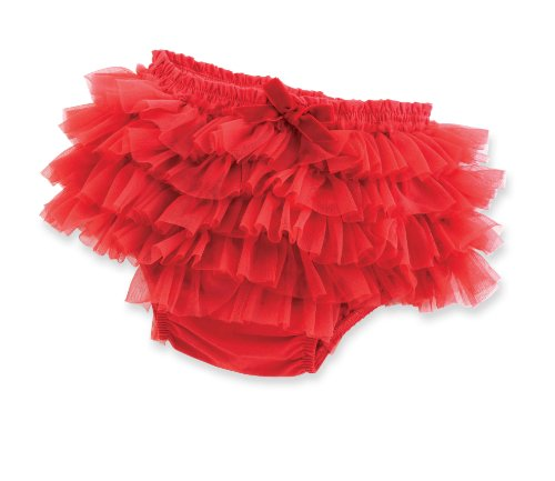 Mud Pie Baby-Girls Newborn Red Ruffle Chiffon Bloomer, Red, 12-18 Months