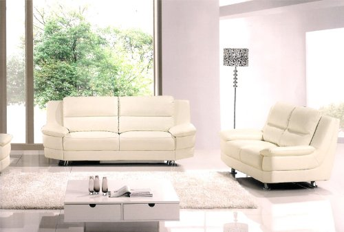 3pc Contemporary Modern Leather Sofa Set #AM-768-W
