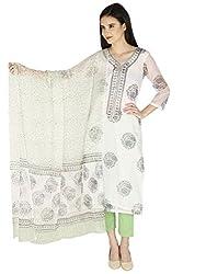 Pinkshink White Kota Cotton Salwar Suit Dress Material p99