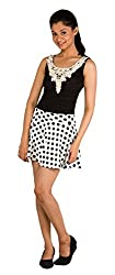 Modo Vivendi | Short Skirt Puff Sheds Pleated (Free Size, White+Dotted design)