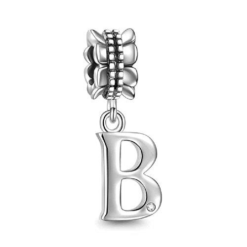 Soufeel New Style Alphabet Letter B Charm 925 Sterling Silver European Bracelets Compatible