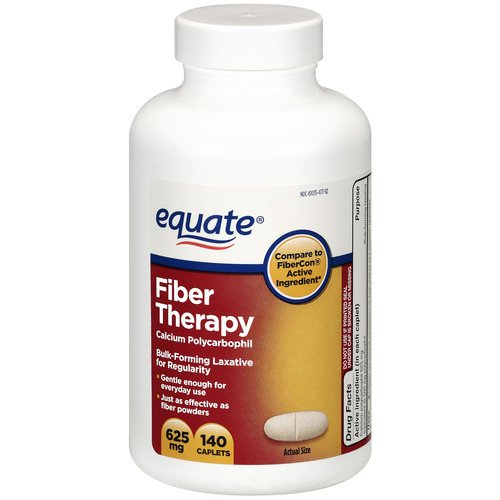 Equate Fiber Laxative Fiber Therapy For Regularity Caplets, 140-Count Bottle
