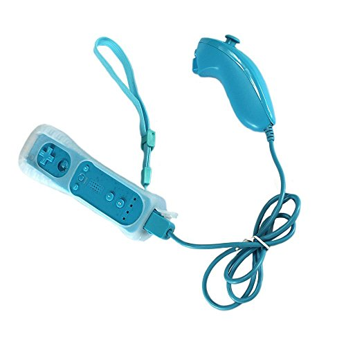 Bestseller2888 Nunchuck and Remote Controller for Nintendo Wii With Protective Silicone Case SKYBLUE