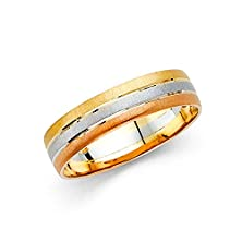 buy Wellingsale® 14K Tri 3 Color Gold Polished Satin 5.5Mm Comfort Fit Wedding Band Ring - Size 8.5