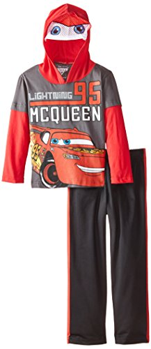 Disney Little Boys' 4-7 Cars Hooded Tricot Set with Mask, Gray, 4