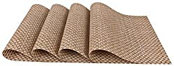 SiCoHome Placemats PVC Dining Room Placemats for Table Heat Insulation Stain-resistant Woven Vinyl Kitchen Placemat Vinyl Placemats,set of 4(Textilene Beige)