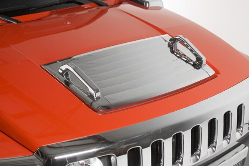 Hummer H3 Triple Chrome Hood Deck Vent Cover With Chrome Hood Handles (Fits: 2006-2010 Hummer H3 & H3T'S) front-38779