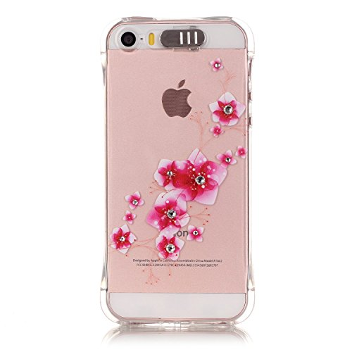 GUT-iPhone-SE-Hlle-Transparent-Weiche-Bling-Diamant-Soft-Schutzhlle-mit-Niedlich-Muster-fr-iPhone-SE-5S-5-with-a-Screen-Protector