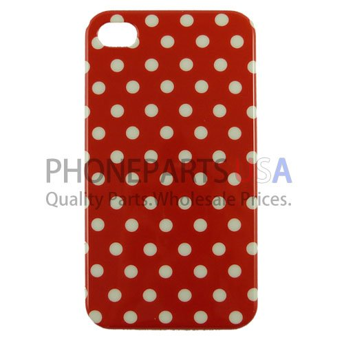 Soft Protective Leather Polka Dot Hard Shell Case For Iphone 4 4S - Red/ White - All Repair Parts Usa Seller