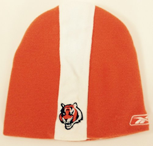 NFL Cincinnati Bengals Reebok Official Sideline Orange White Stripe Cuffless Knit Hat Beanie marumi mc close up 1 55mm