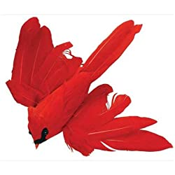 Package of 12 Bright Red Flying Artificial Cardinal Birds with Clips for Christmas Tree Ornaments