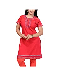 Feathers Pink Color Cotton Kurti For Women - B00NJL6KL0