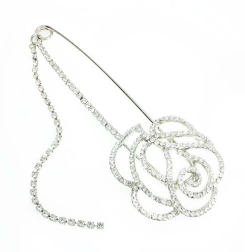 Crystal Clear Rose Bud Crystal Brooch / Pin / Safety Pin