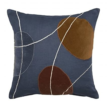 Surya PL-9005 Machine Made 100% Cotton / 25% Rayon Velvet / 25% Jute Navy 18 x 18 Decorative Pillow