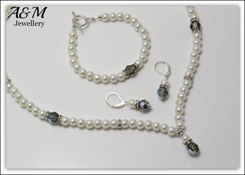 Ivory color glass pearls & Swarovski Elements Black Diamond AB jewelry jewellery set Bridal Weddings