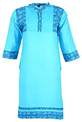 Fashion Web Women's Cotton Regular Fit Kurta (Blue, X-Large)