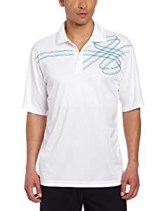 Bollé Men's Solid Polo Shirt with Front Design Details, White/Diva Blue, XX-Large
