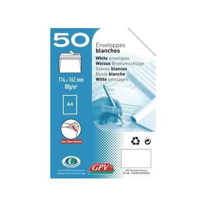 Paquet de 50 enveloppes blanches auto-adhésives 80 grammes GPV format 114x162mm référence 515