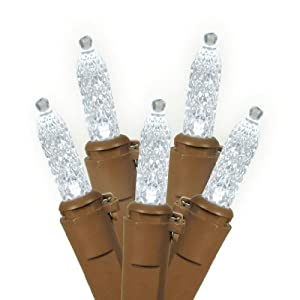 """Vickerman 15588 - 70 Light 36' Brown Wire Pure White LED Miniature Christmas Light String Set with 6"""" Spacing (X6B1709)"""
