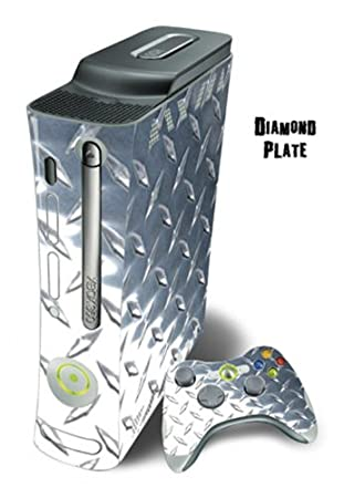Xbox 360 Skin - System Console Skin and two Xbox 360 Controller Skins - Diamond Plate