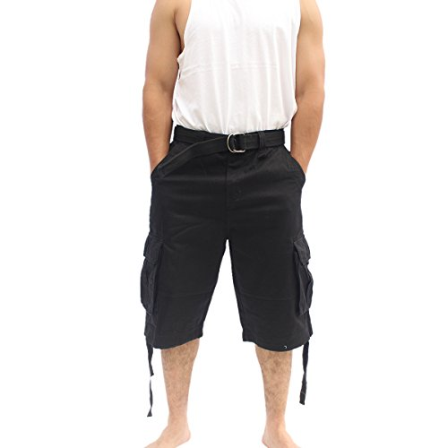 La Gate Mens Big and Tall Belted up to size 50 Cargo Short (34, Black) (Sexy Indian Man)