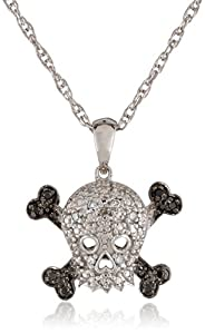 Sterling Silver Black and White Diamond Skull Pendant Necklace, 18""