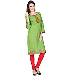 Janasya women's Green solid kurtis