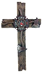Fire Department Large Wall Cross, Hand-crafted, Hand-painted Resin.