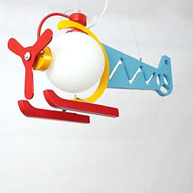 Fashionable Lovely 1 Light Pendent With Cartoon Airplane Design front-434242