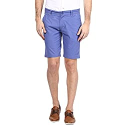 Atorse Mens Blue Casual Shorts with printed waistband