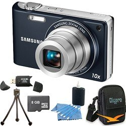 """Samsung - PL210 Superzoom 14MP Compact Indigo Blue Digital Camera, 10x Wide-Angle Zoom, Dual Image Stabilization, HD Video, 3"""" LCD, Face Recognition. Bundle Includes 8 GB Memory Card, Card Reader, Deluxe Carrying Case, Mini Tripod, and 3Pcs. Lens Cleaning"""