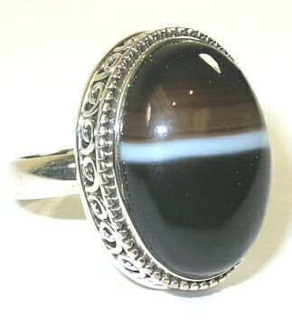 Banded Agate Sterling Silver Ring - Size 7.5