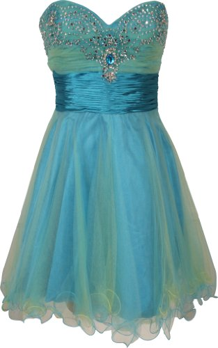 Strapless Layered Mesh Mini Dress with Beaded Sweetheart Neckline Junior Plus Size, Large, Turquoise/Yellow